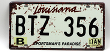 1 pc Louisiana tin sign plate US American car license plaques man cave garage