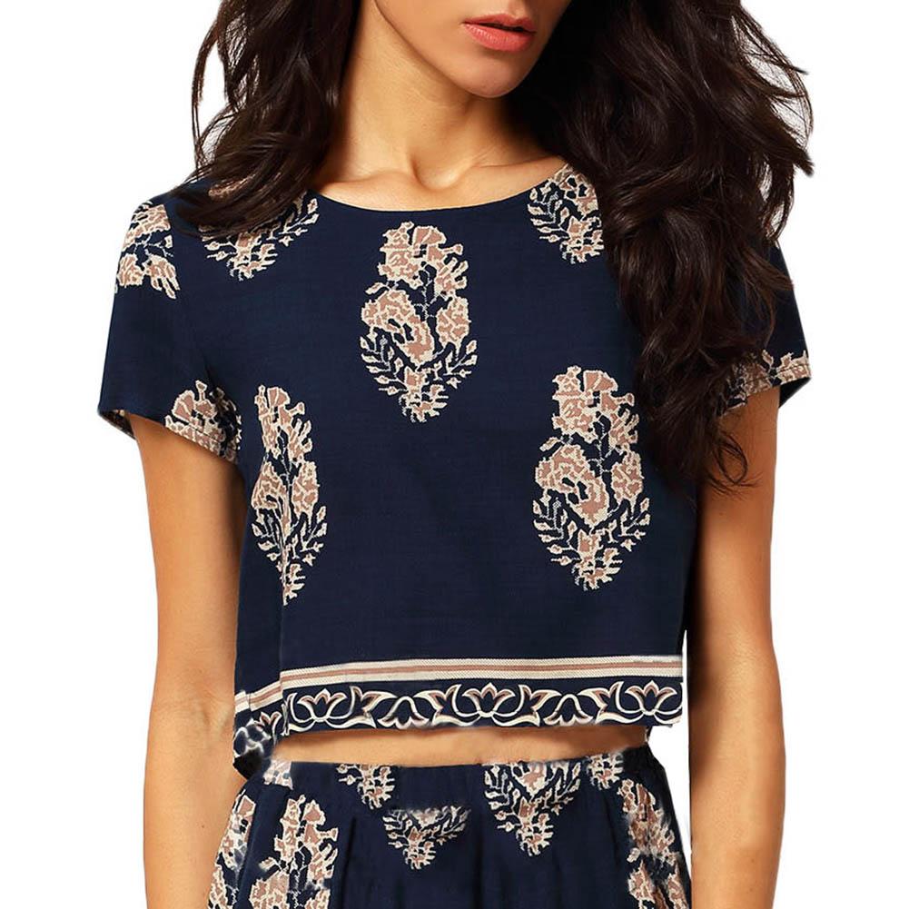 New Fashion Women T-shirt Summer Causal Women  Leaf Printing High Waist Short T-shirt