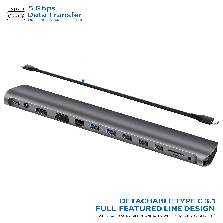 LTGEM USB 3.0 USB 2.0 multi-ports HUB vers HDMI + VGA type-c PD 3.0 adaptateur pour Macbook Pro convertisseur de USB Type C