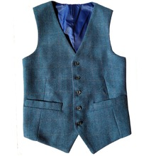 2019 New Arrival Airtailors Checked Herringbone Tweed Vest for Rustic Wedding Color Blue Plus Size