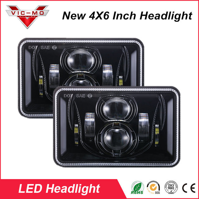 """2PCS 4x6 H4 Led truck headlight bulb with Hi/Lo beam light 6x4"""" sealed beam bulbs replacement projector daymaker lamp for Dodge"""