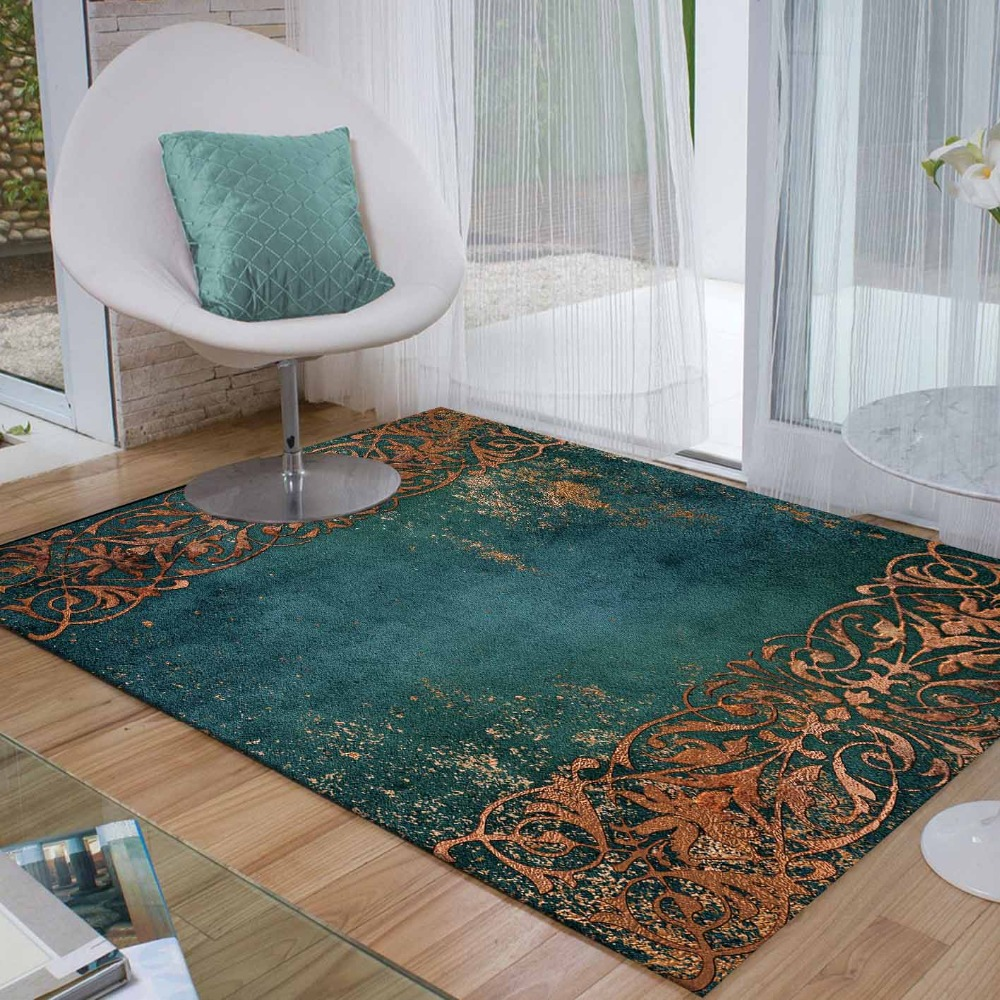 Else Green Floor Brown Persian Turkish Floral 3d Print Non Slip Microfiber Living Room Decorative Modern Washable Area Rug Mat