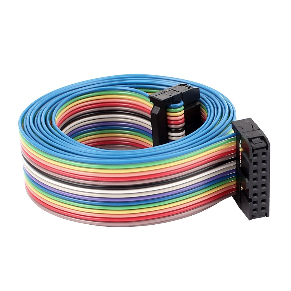 UXCELL 2.54mm 16Pin 16 Way F/F Connector IDC Rainbow Flat Ribbon ...