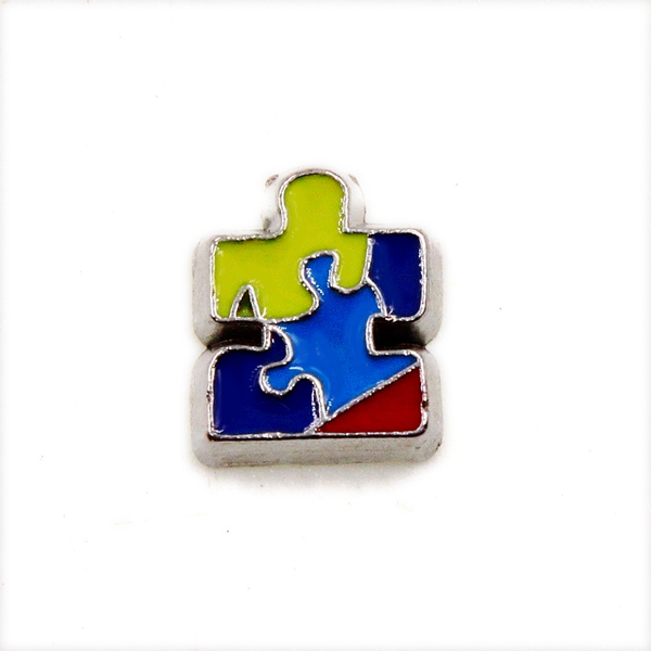 20PCS Colorful Puzzle Autism logo Alloy Floating Charms Fit Glass Locket Charms DIY Jewelry Accessories