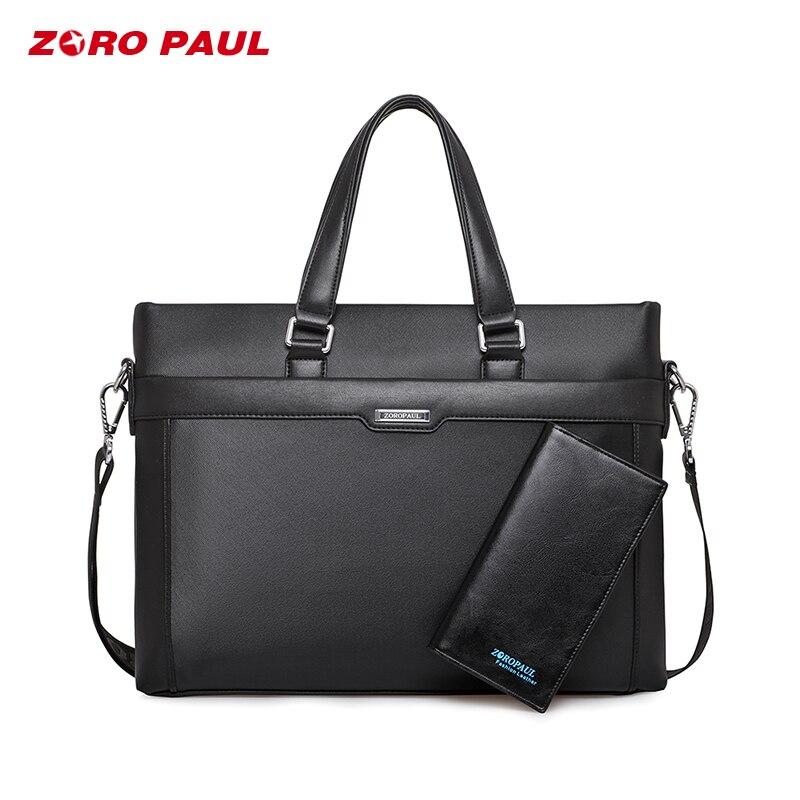 ZORO PAUL Men's Business Briefcase Handbag Leather Laptop Office Bag Briefcase Men Shoulder Bag Male Messenger Bags ZR2302-4 сумка zoro paul zr1901 3
