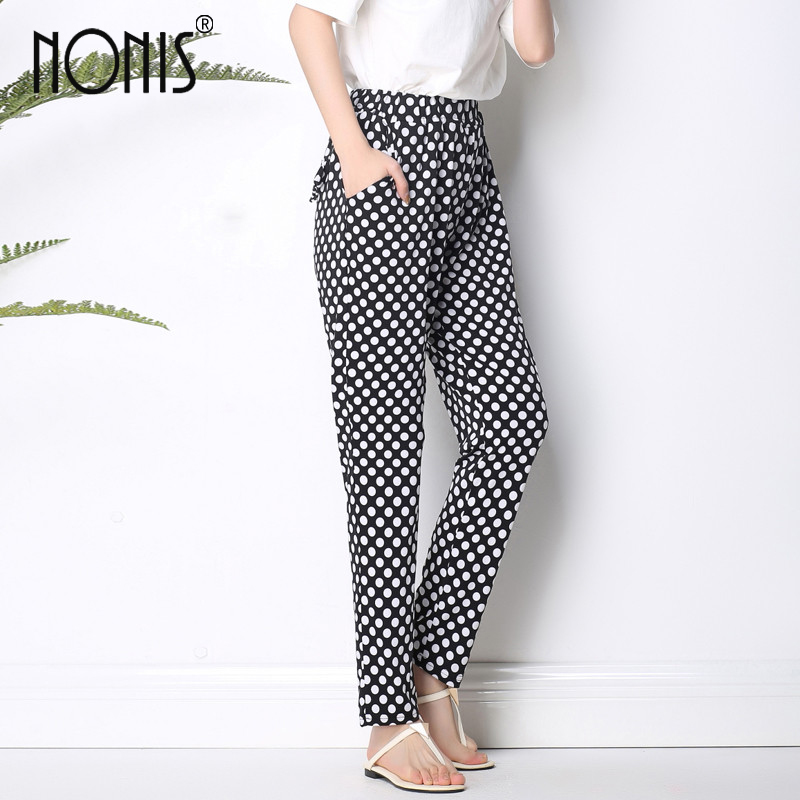 Nonis 2017 Summer New Arrival Women long harem Trousers variety of Geometric casual loose pant plus size 6