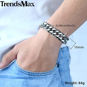 Image 2 - Trendsmax Hip Hop Iced Out Paved Rhinestones Cuban Chain Mens Necklace Bracelet 316L Stainless Steel Gold Color 16mm KHSM04