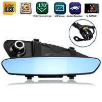 4 3 Inch 170 Degree 1080P Rearview Mirror Dual Lens Car DVR Dash Camera Vehicle Video