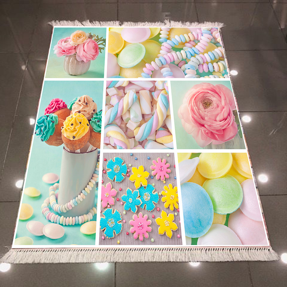 Else Blue Pink Yellow Candy Sweet Cup Cakes Sugar 3d Microfiber Anti Slip Back Washable Decorative Kitchen Area Rug Carpet