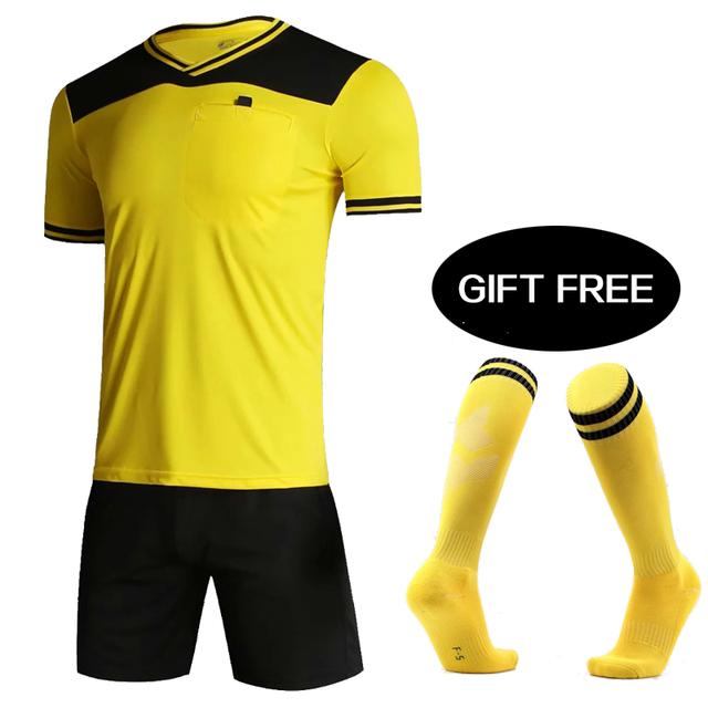 18/19 Professional Soccer Referee Clothing Blank Football jerseys Adults Short Sleeve Soccer Referee Jersey Tracksuit Soccer set