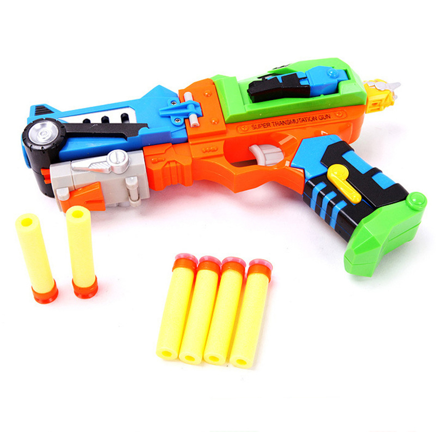 High Quality Plastic Deform Robot Toy Pistol Toy Guns Soft Bullet Sniper Air Soft Gun Juguetes Silah Kids Toys Birthday Gifts
