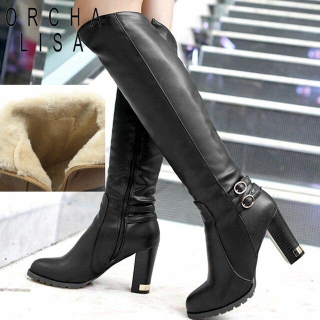 ORCHA LISA Women Winter Thick Fur Knee High Heel PU Leather Boots Zipper Snow Boot Long Chunky Heels Botas Feminina Black Brown