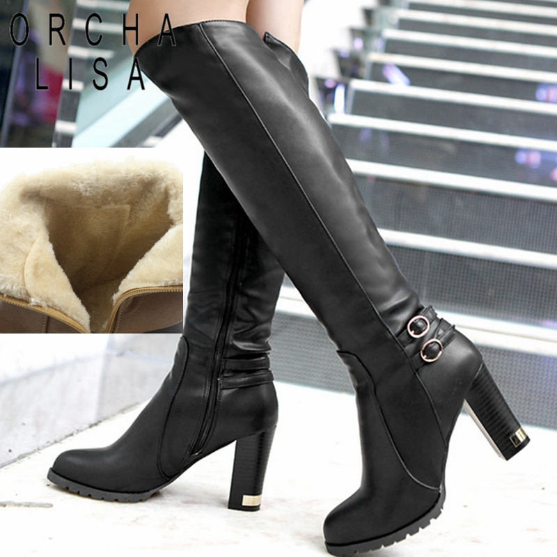 ORCHA LISA Womens Winter Fur Knee High Heel Boots Zipper Warm Snow Boots long boots botas feminina Black Brown CCA059-in Knee-High Boots from Shoes