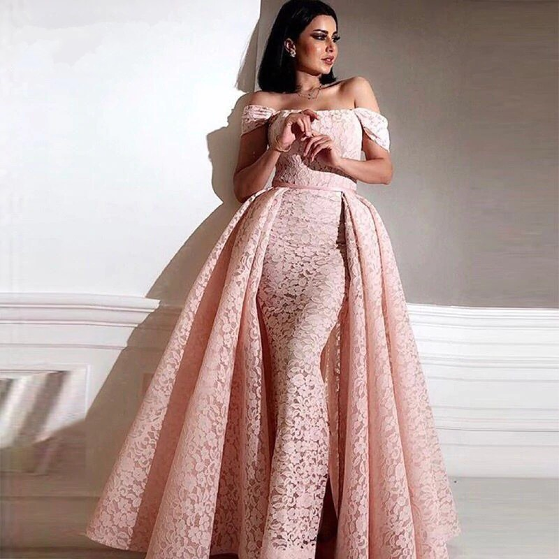 Pink   Evening     Dresses   2019 Mermaid Off the Shoulder Lace Islamic Dubai Saudi Arabic Long   Evening   Gown Prom with Detachable Skirt