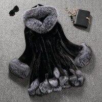Hot Sale High Imitation Fur Coat Women Cute Fur Collar Hooded Fur Faux Fur Coat Medium