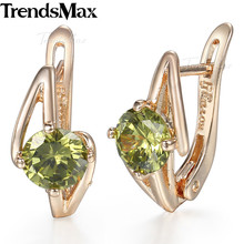 Round Green Cubic Zirconia Earrings For Women Girls 585 Rose Gold Womens Earrings Fashion Jewelry Accessories GE73