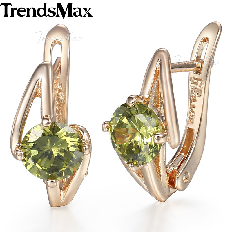 Trendsmax Round Green Cubic Zirconia Earrings For Women Girls 585 Rose Gold Womens Earrings Fashion Jewelry Accessories KGE73