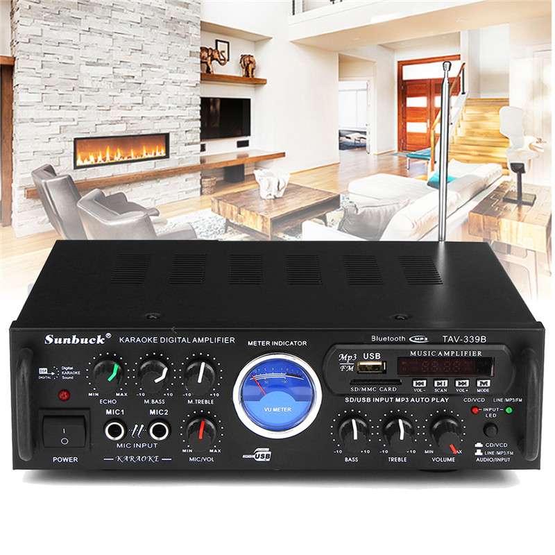 110V 600W Bluetooth Home Stereo Power Amplifier Audio Karaoke Car Hi-Fi FM Amplifier US Plug With Remote Control цена