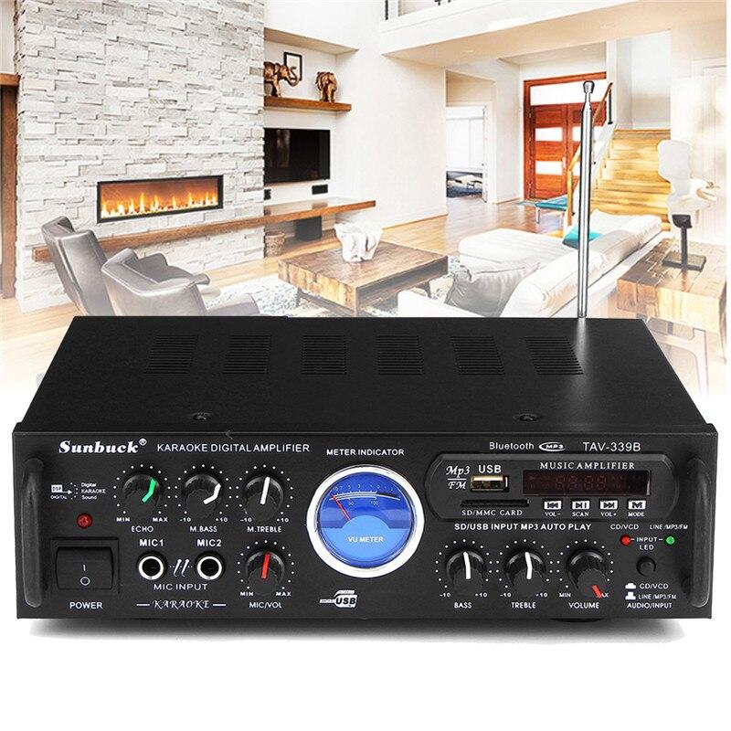 600 в 110 Вт Bluetooth домашний стерео усилитель мощности аудио караоке автомобиль Hi-Fi fm-усилитель США штекер с пультом дистанционного управления