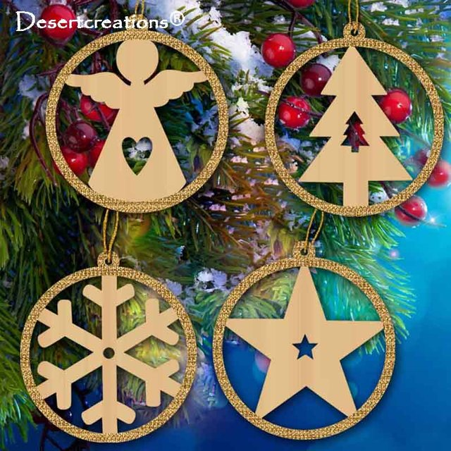 4pcsset Natural Wood Christmas Ornaments Angels Trees Snow Flakes