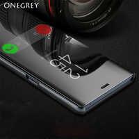 Support à rabat tactile étui pour samsung Galaxy s9 S8 Plus S6 S7 Edge S6Edge Note8 Note5 Note 5 8 9 téléphone Smart Mirror couvercle transparent