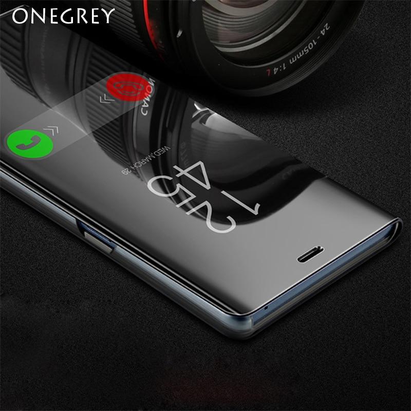 Toque flip suporte caso para samsung galaxy s9 s8 mais s6 s7 borda s6edge note8 note5 nota 5 8 9 telefone inteligente espelho vista clara capa