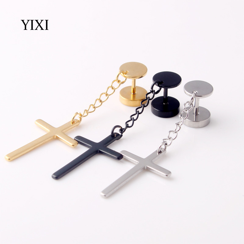 Yixi 1 쌍 크로스 드롭 귀걸이 체인 긴 펑크 스테인레스 스틸 바벨 피어싱 패션 주얼리 남여 여성 남성 귀걸이