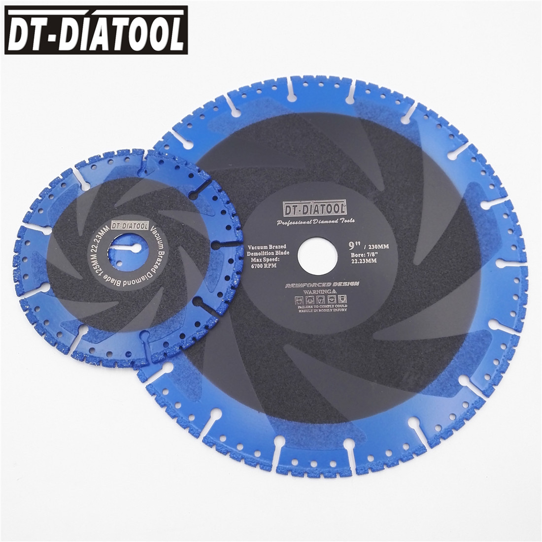 DT-DIATOOL 2pcs Vacuum Brazed Demolition Saw Blade Diamond Blade Cutting Disc For Multi Purpose Cast Iron Rebar Hard Stone