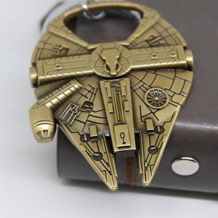 Millenium Falcon Airship Model Metal Keychain Bottle Opener KeyChain Gold Silver