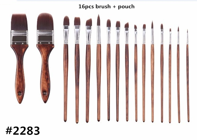 2283 High Quality Korea Importing Synthetic Hair Wooden Handle Canvas Pouch 16PC/set Art Supplies Artist Brushes Set