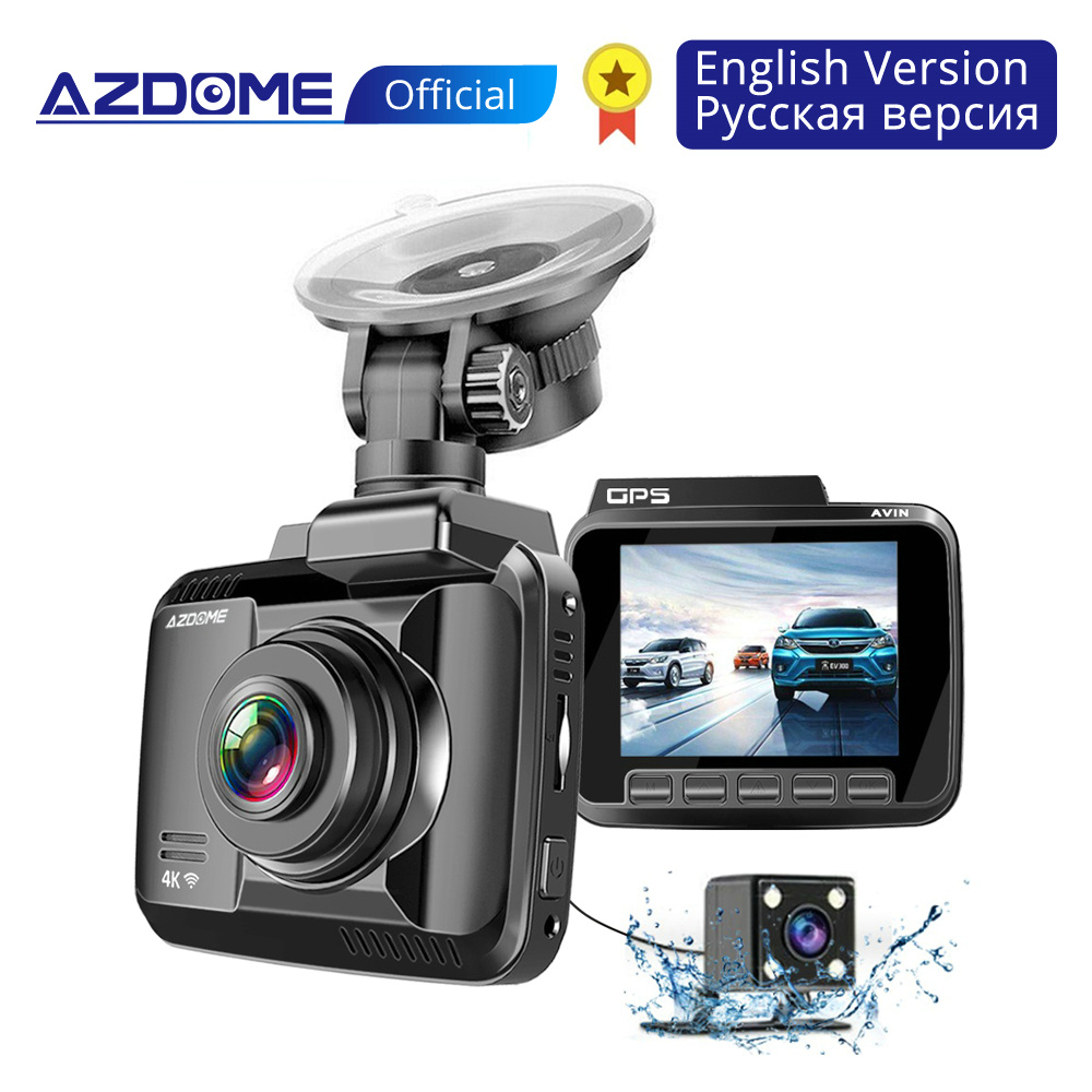AZDOME Car-Dvr-Recorder Dash-Cam Dual-Lens Night-Vision Wifi 4k 2160p 1080P FHD Front