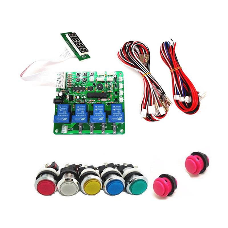 цена на JY-21 with button START 4 digits coin operated timer board for 1-4 devices machines, time control pcb with all wires