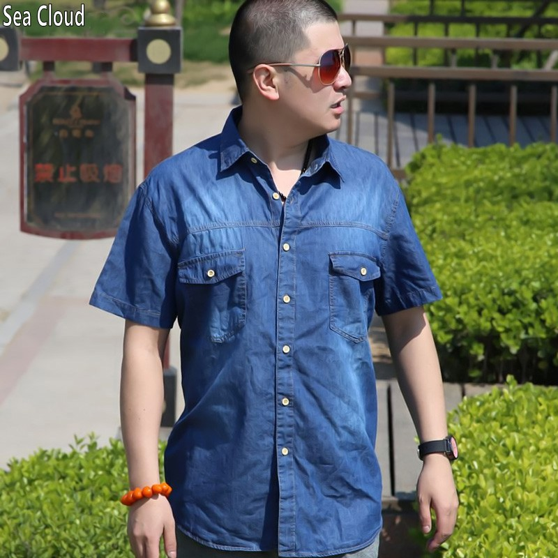TOPS hot 4XL 6XL summer denim short-sleeve shirt top thin turn-down collar loose Single Breasted coat plus size Casual shirt 8xl