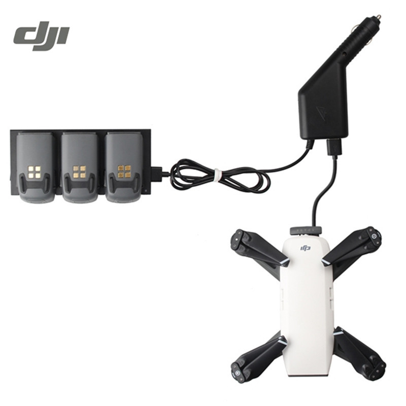DJI Spark Drone FPV Quadcopter Battery Charging Hub Remote Control Transmitter 2 in 1 Car Charger Battery Accessories original dji spark battery charging hub intelligent flight battery charger for dji spark