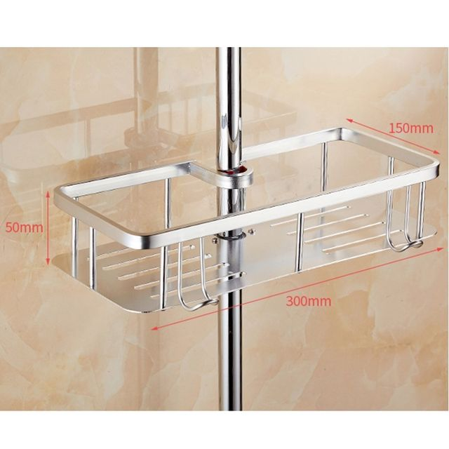 Gold Silver Bathroom Storage Rack Shampoo Lotion Holder Shower Storage Bath  Shower Rack Pole Shelf Organizer No Drill Holes