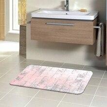 Alfombrillas de baño antideslizantes lavables suaves para baño con estampado 3d de madera y árbol Vintage de color rosa gris envejecido