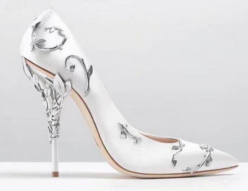 Chaussures Naturellement Femmes Feuilles Pompes Shown Blanc as Satin Place Talons Eden Spirale Ruban Chic As Mariée Talon Des Shown De Femme Mariage Stiletto wWYvqEnda