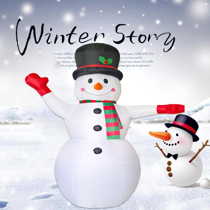 Muñeco de nieve inflable gigante de 2,4 m de juguete para decoración navideña de Santa Claus para hoteles