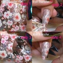 Kwiat Nail Art folia holograficzna dekoracja Wrap Transfer 10 sztuk (10 wzorów) folie do naklejania na paznokcie Transfer folia holograficzna naklejka foliowa