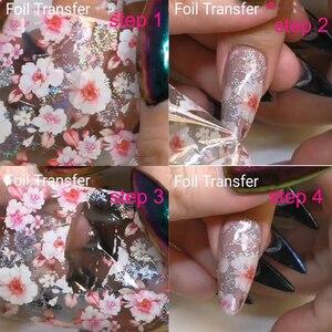 Image 1 - Lámina de decoración holográfica para uñas, 10 Uds. (10 diseños), transferencia de láminas para decoración de uñas
