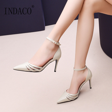 High Heels Shoes Woman Leather Pumps Women Ankle Strap Fashion Sexy 2019 8cm