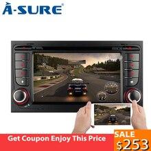 A-Sicuro 2 Din 7 Pollici Android 8.0 Car DVD GPS 4G di RAM 8 Core Per Audi A4 s4 RS4 8E 8F B9 B7 SEAT EXEO di Navigazione (2002-2012)