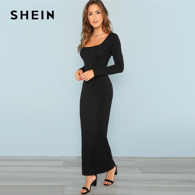 SHEIN Maxi Square Neck Fitted Maxi Dress Bodycon Long Sleeve Stretchy Plain Dresses  Women Autumn Tshirt Slim Elegant Dress e4a94bd52