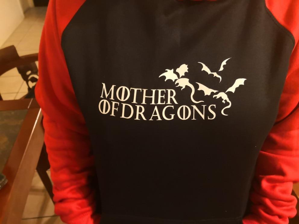 Hot Sale Sweatshirts Print Mother Of Dragons Streetwear Autumn Winter Raglan Hoodies Game Of Thrones Hip Hop Pullover Hoody photo review