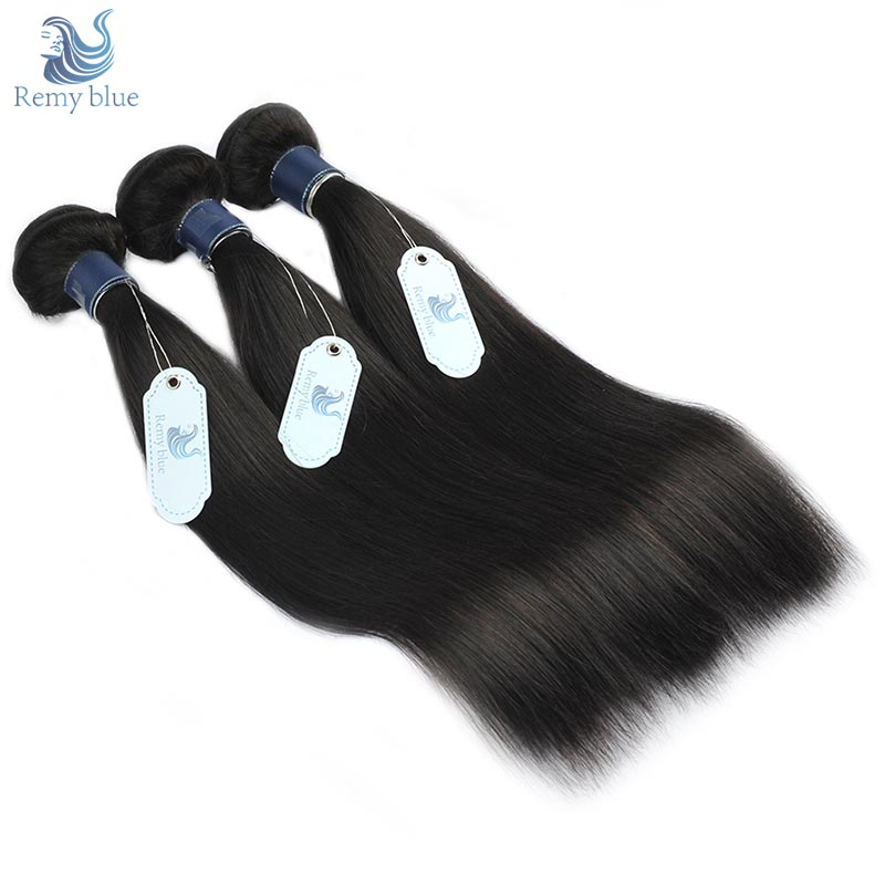 Remy Blue Raw Indian Straight Hair 3 Bundles Deals Black Natural Color Human Hair Weave Extension Thick Bundle Remy Hair Weaving