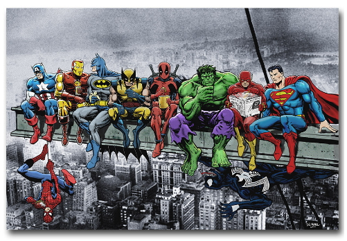Custom Canvas Wall Painting Funny Superheroes Poster