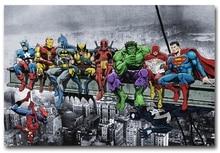 Custom Canvas Wall Painting Funny Superheroes Poster Deadpool Hulk Batman Stickers font b Anime b font