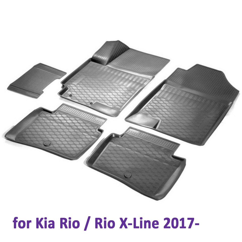 3D Floor mats into saloon for Kia Rio 2017-2019 / Rio X-Line 2017-2019 NEW Generation 5 pcs/set (Rival 12305007) коврики салона литьевые rival для kia rio x line 2017