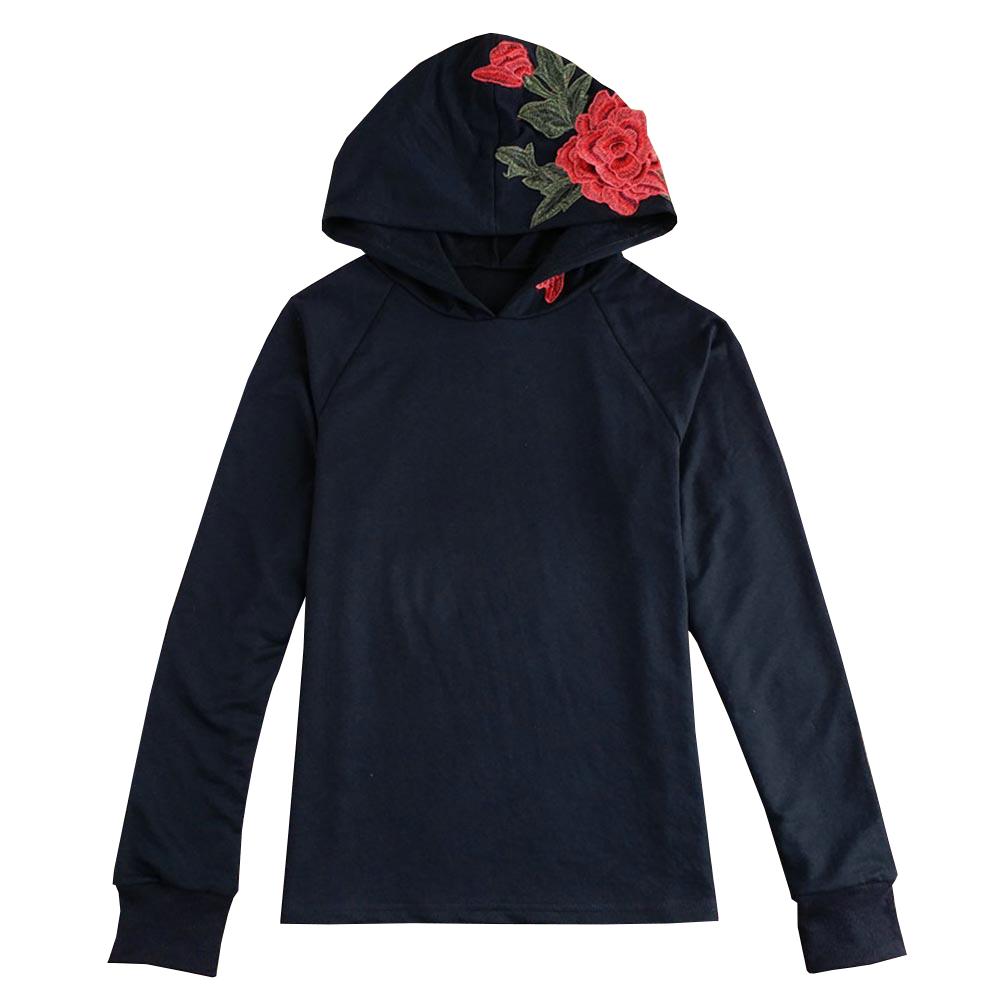 Women Floral Red Flower Embroidery Hoodie  Autumn Long Sleeve Sweatshirt Casual Hooded Coat Pullover Tops New