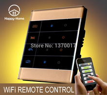 цена на 2 Gangs Gold Tempered Glass Waterproof Panel Mobile Wireless remote control light switch Wifi Remote light Switch,Free Shipping